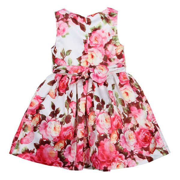 Spring/Summer Sleeveless Floral Dress for Girls - FOR MY LITTLE ANGELS