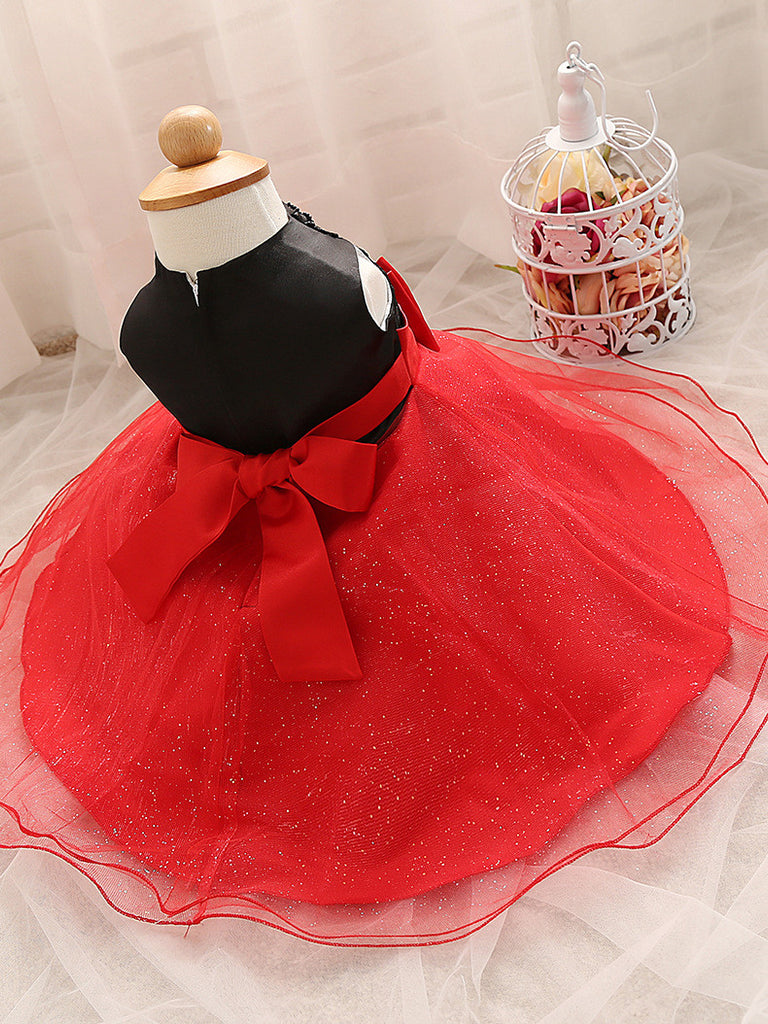 Lace Princess Dress for Girls with Bow and Pearl Round Neck 4-24M - FOR MY LITTLE ANGELS
