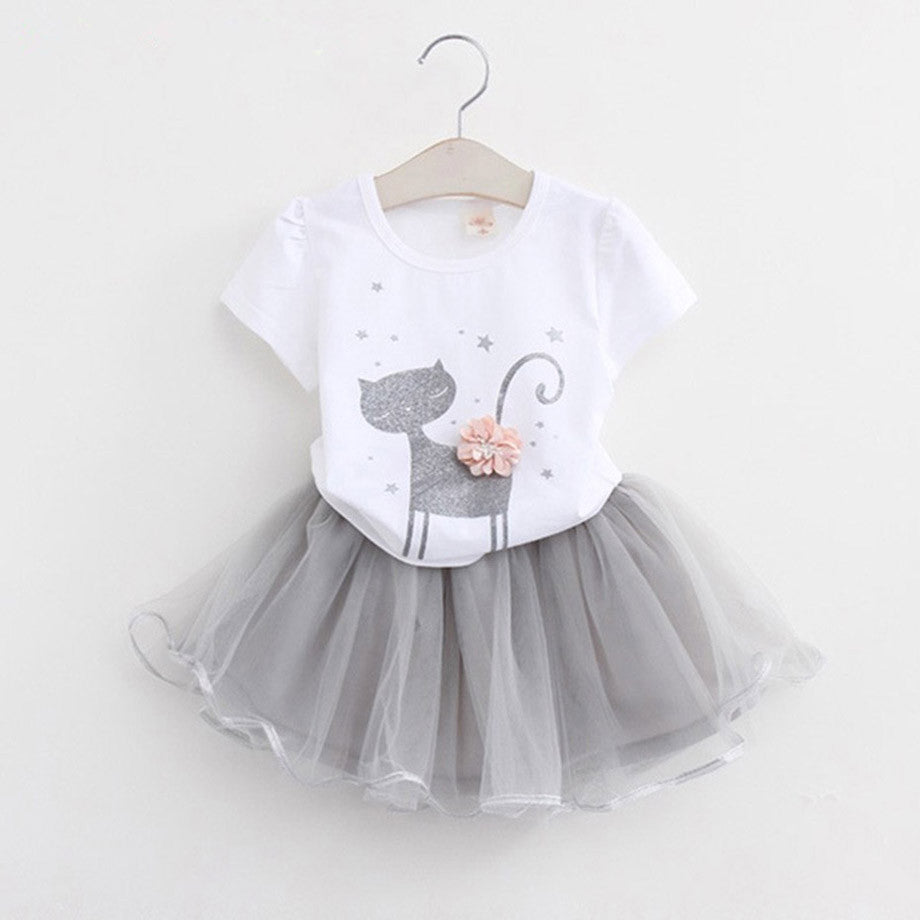 Kitten Print Cotton Top with Mesh Skirt for Toddlers (2pcs) 2-6T - FOR MY LITTLE ANGELS