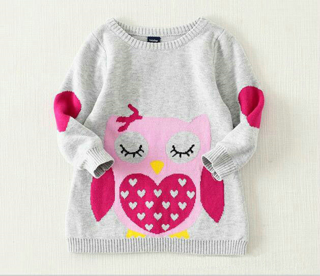 Long Sleeve Owl and Cat Print Light Sweater with Arm Patch for Girls 2-6T - More Colors Available - FOR MY LITTLE ANGELS