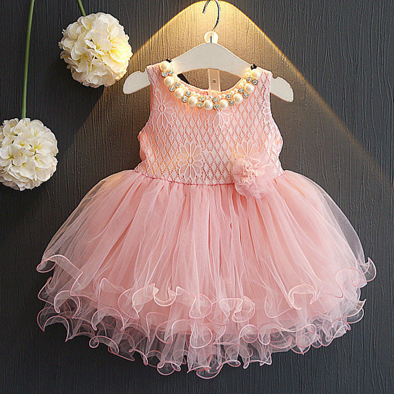 Spring/Summer Baby Girls Sleeveless Dress with Pearl Collar and Tulle Bottom 2-6T - FOR MY LITTLE ANGELS