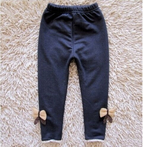 Warm Cashmere Leggings for Girls with Elastic Waist and Bow - FOR MY LITTLE ANGELS