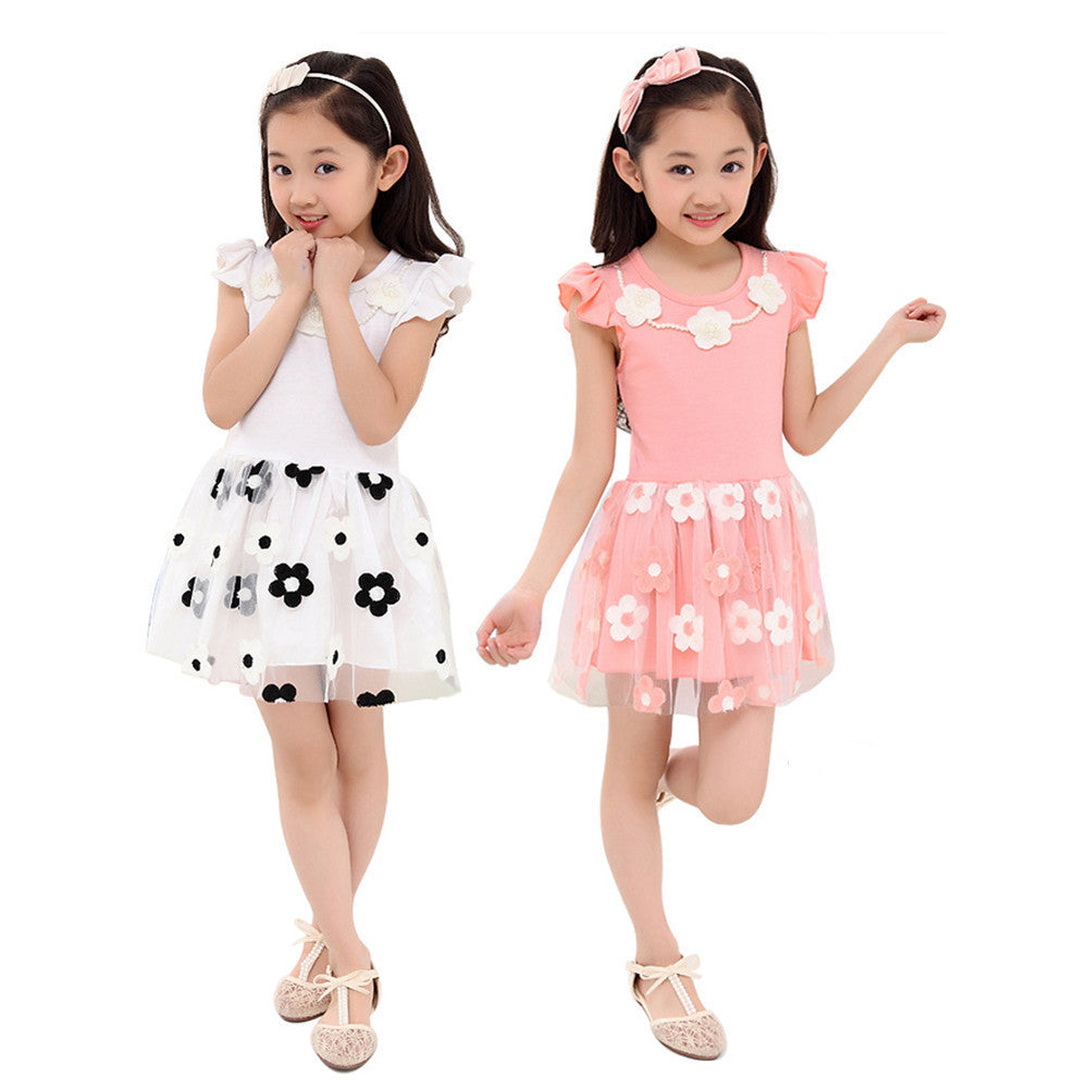 Summer Style Flower Print Lace Dress for Girls 4-12T - FOR MY LITTLE ANGELS