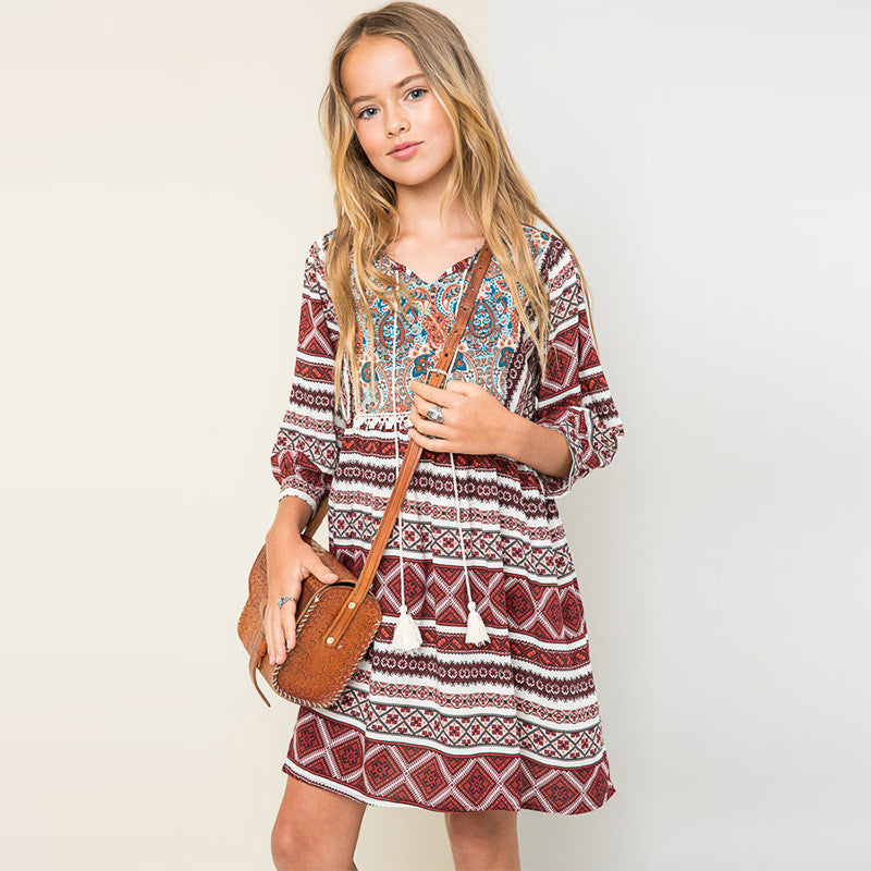 Bohemian Style Girls Dress  with Tassel String and Mid Length Sleeve 7-13T - More Colors Available - FOR MY LITTLE ANGELS