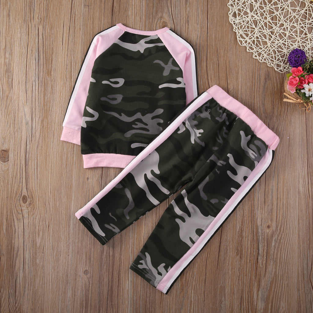 Autumn/Winter Baby Girls Sporty Clothing Set with Camouflage Print Sweatshirt and Long Sweatpants (2pcs) 1-4T - FOR MY LITTLE ANGELS