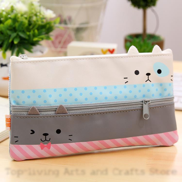Canvas Cat Pencil Case for School Supplies - FOR MY LITTLE ANGELS
