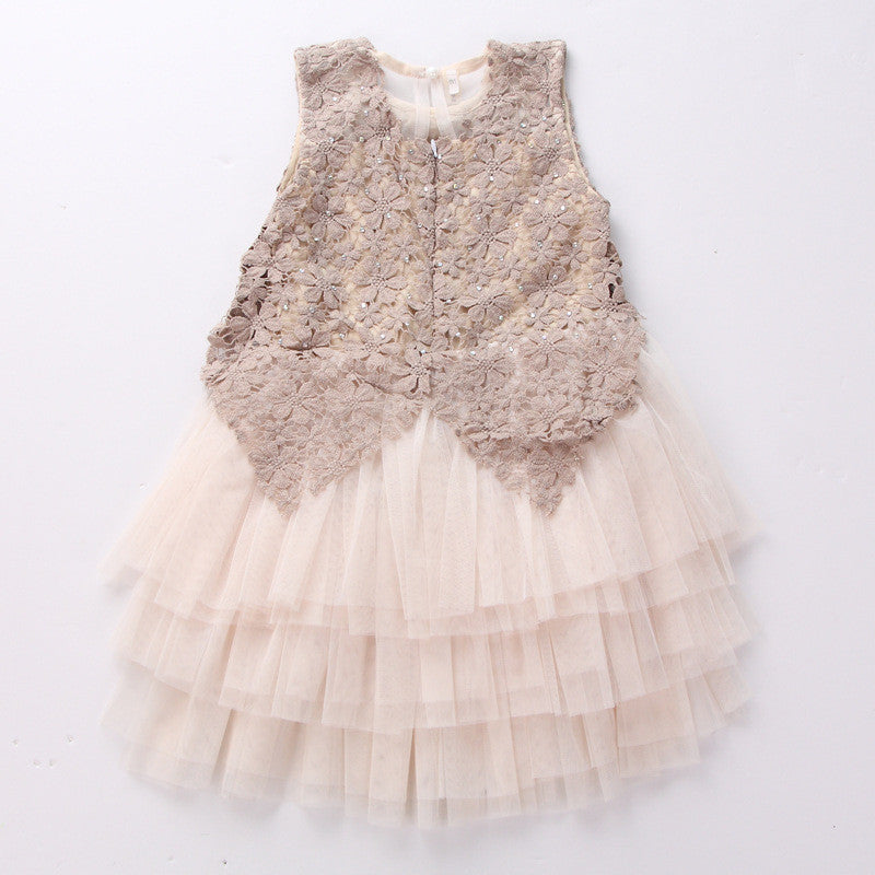 Sleeveless A-line Lace Dress for Girls in Princess Style 3-12T - FOR MY LITTLE ANGELS