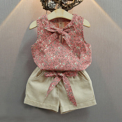 Summer Clothing Set for Girls with Floral shirt and Shorts with Bow 3-7T - More Colors Available - FOR MY LITTLE ANGELS