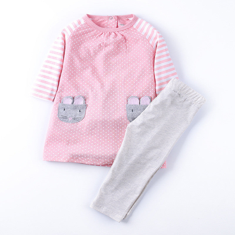 Animal Pattern Clothing Set for Baby girls with Long Sleeve Shirt and Pants (2pcs) for 2-7T - FOR MY LITTLE ANGELS