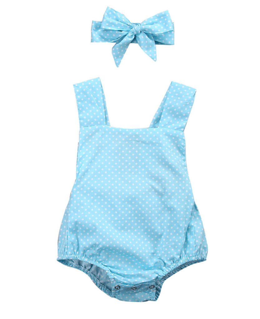 Newborn Baby Polka Dot Suit + Bow Headband Set (2pcs) 4-24M - FOR MY LITTLE ANGELS