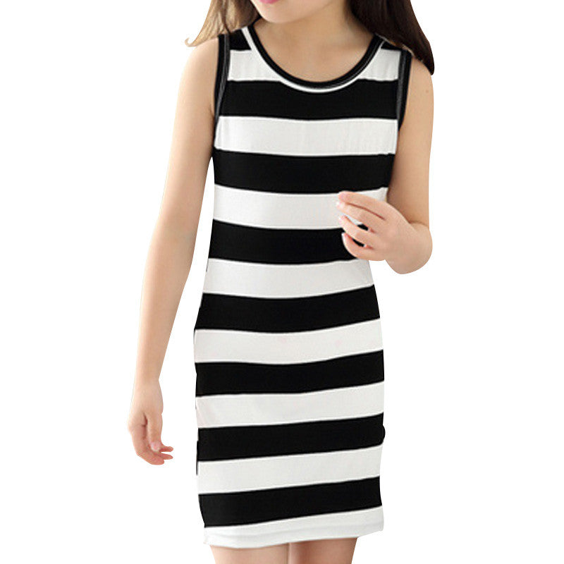 Spring/Summer Girls Sleeveless Cotton Tight Dress with Stripe Pattern 3-8T - FOR MY LITTLE ANGELS