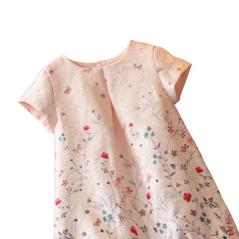 Spring/Summer Baby Girls Shortsleeve Dress with Floral Print 1-6T - FOR MY LITTLE ANGELS