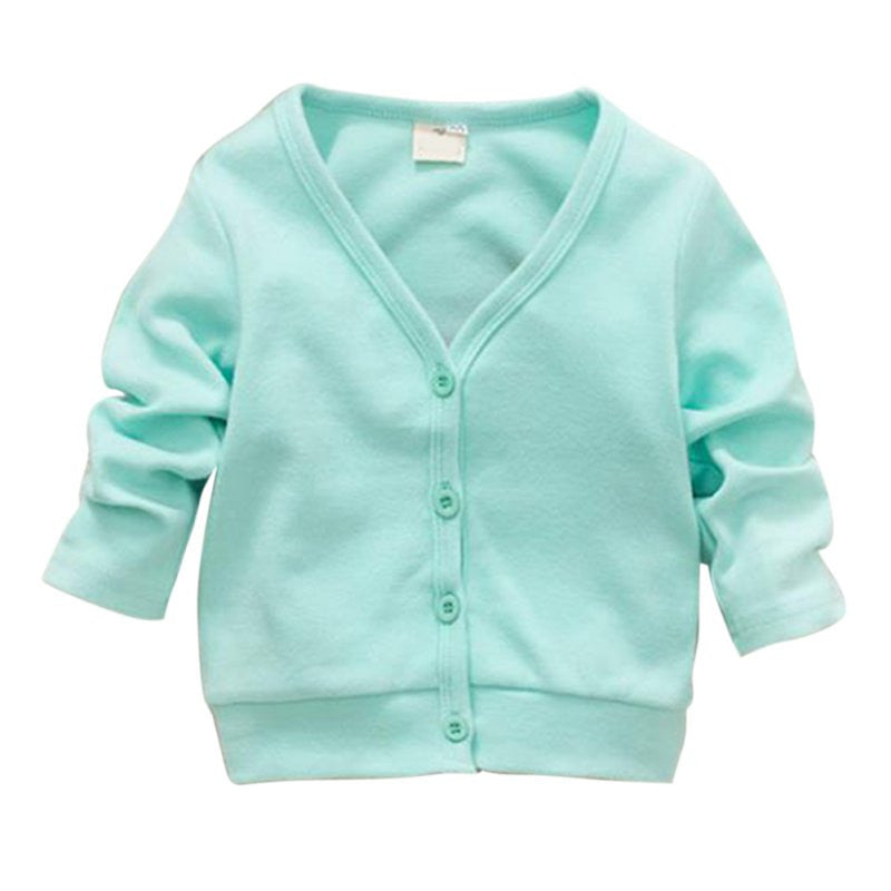 Basic Long Sleeve Unisex Thick Cotton Cardigan with V-neck and Button Up for 2-5T - More Colors Available - FOR MY LITTLE ANGELS