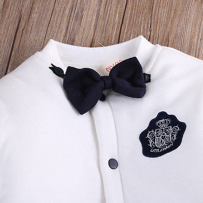 Gentlemen Baby Boys Bow Tie Long Sleeve Rompers with White Top and Black Bottom for 4-18M (1pc) - FOR MY LITTLE ANGELS