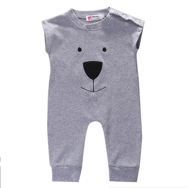 705bd222a Unisex Sleeveless Cute Bear Face Rompers Onesie for Newborn Baby in ...