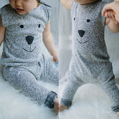 Unisex Sleeveless Cute Bear Face Rompers/Onesie for Newborn Baby in Bear Print 4-24M - FOR MY LITTLE ANGELS