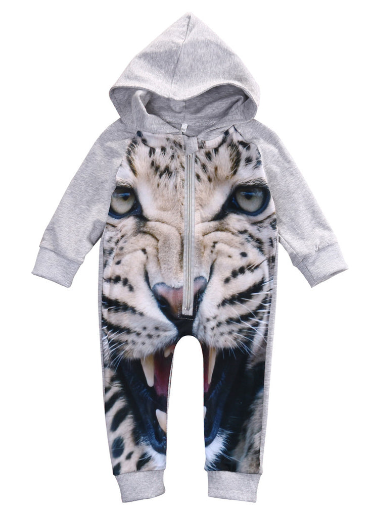 Long Sleeve Hooded Rompers for Baby in 3D Tiger Print 4-24M - FOR MY LITTLE ANGELS