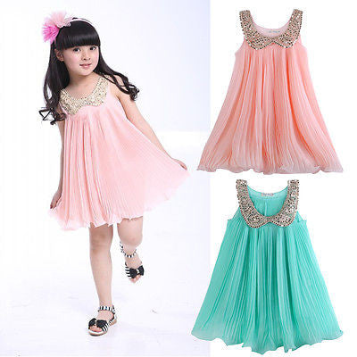 Sleeveless Party Chiffon Dress for Girls with Sequin Collar for 2-7Y - More Colors Available - FOR MY LITTLE ANGELS