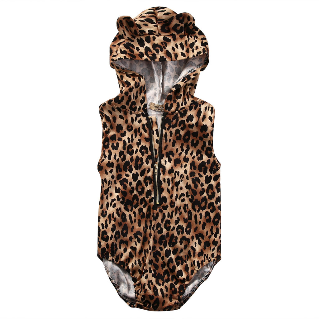 Unisex Sleeveless Leopard Print Rompers with Zipper and Hood for Kids 4-24M - FOR MY LITTLE ANGELS