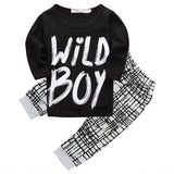 Baby Boys Clothing Set with Letter Print Long Sleeve Shirt and Checked Print Pants (2pcs) for 3-18M - FOR MY LITTLE ANGELS