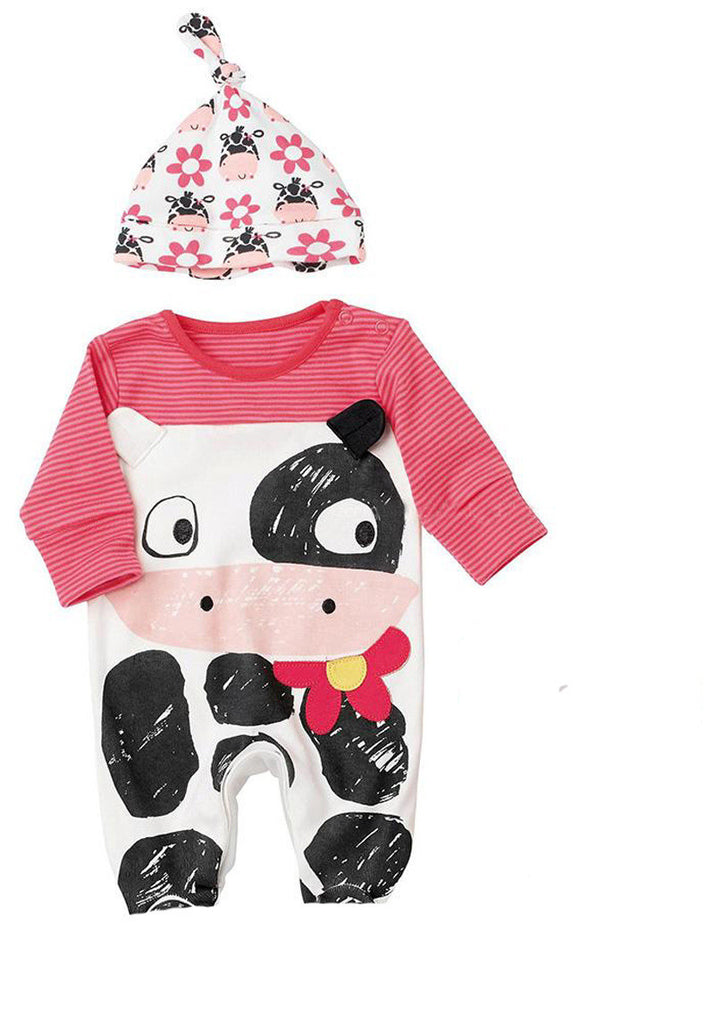 Newborn Baby Rompers with Cow and Zebra Pattern + Hat (2pcs) for 4-24M - FOR MY LITTLE ANGELS