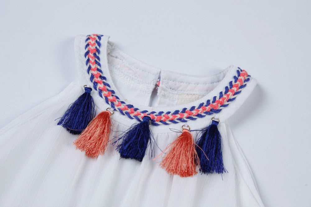 Sleeveless Bohemian Style Dress for Girls with Colorful Tassels Detail for 3-7T - FOR MY LITTLE ANGELS