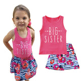 """Big Sister"" Clothing Set for Girls with Letter Printed Sleeveless T-shirt and Floral Skirt (2pcs) for 1-5T - FOR MY LITTLE ANGELS"