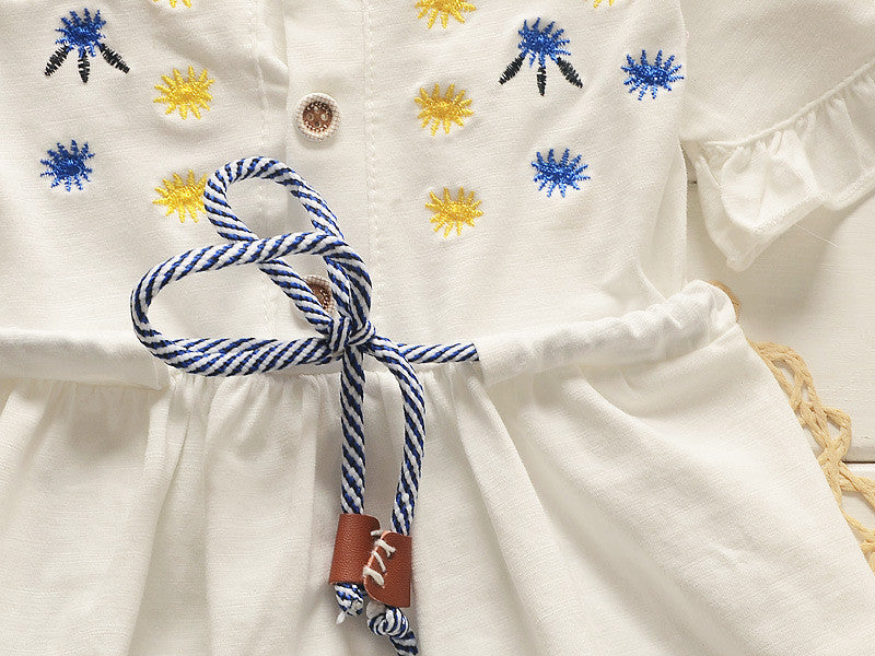 Girls Summer Short Sleeve Dresses with Embroided Details and String Tied 1-4T - FOR MY LITTLE ANGELS