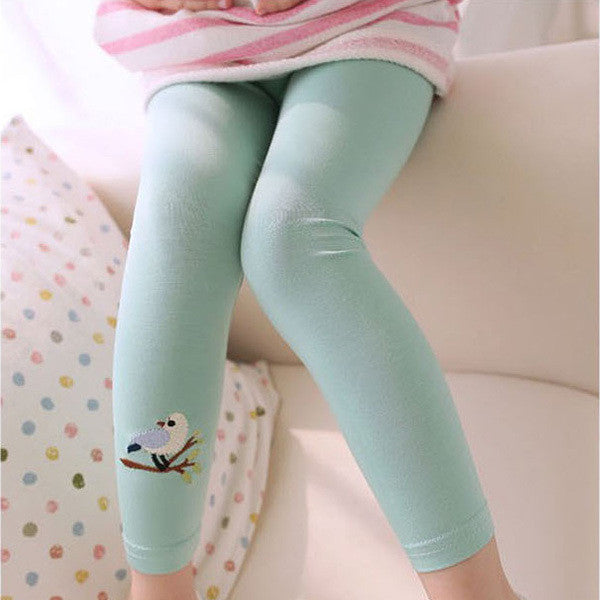 Cotton Skinny Leggings for Girls with Bird Print 2-6T - More Colors Available - FOR MY LITTLE ANGELS