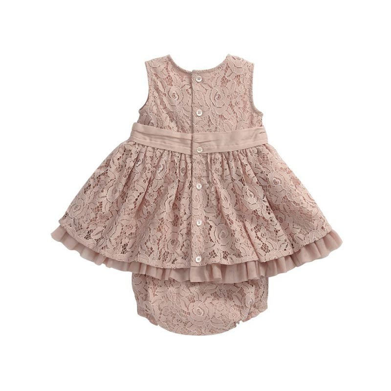 Lace Set for Baby Girls with Bow Dress + Underwear (2pcs) for 6M-3T - More Colors Available - FOR MY LITTLE ANGELS