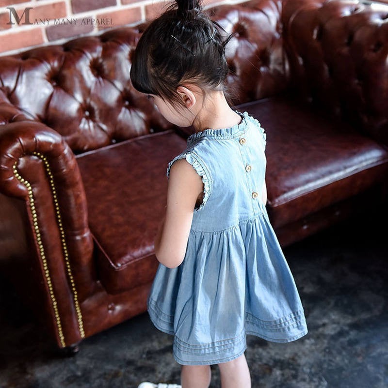 Denim Sleeveless Dress for Girls with Embroided Flowers Detail 2-7T - FOR MY LITTLE ANGELS