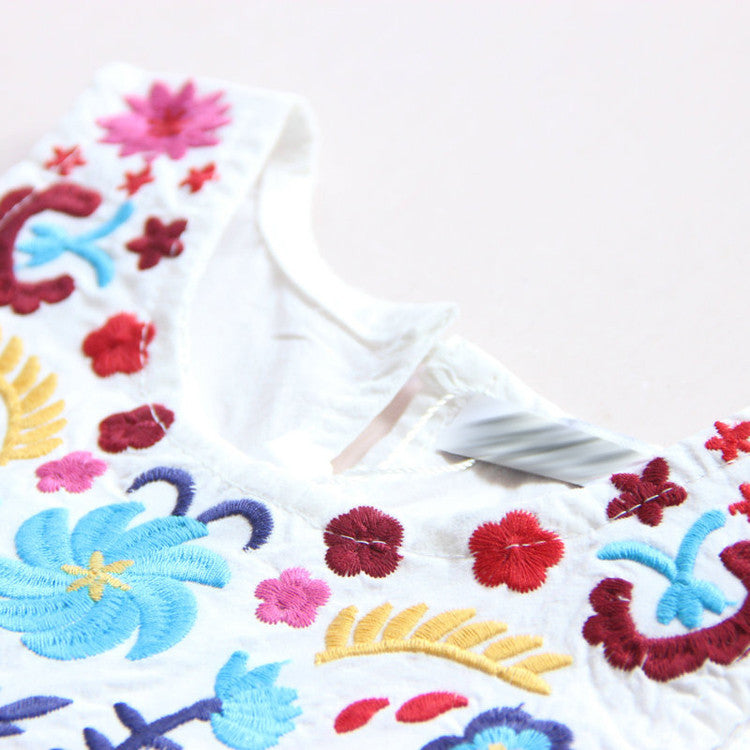 Summer Sleeveless Girls Dress with Embroided Flowers Details for 2-8T - More Colors Available - FOR MY LITTLE ANGELS