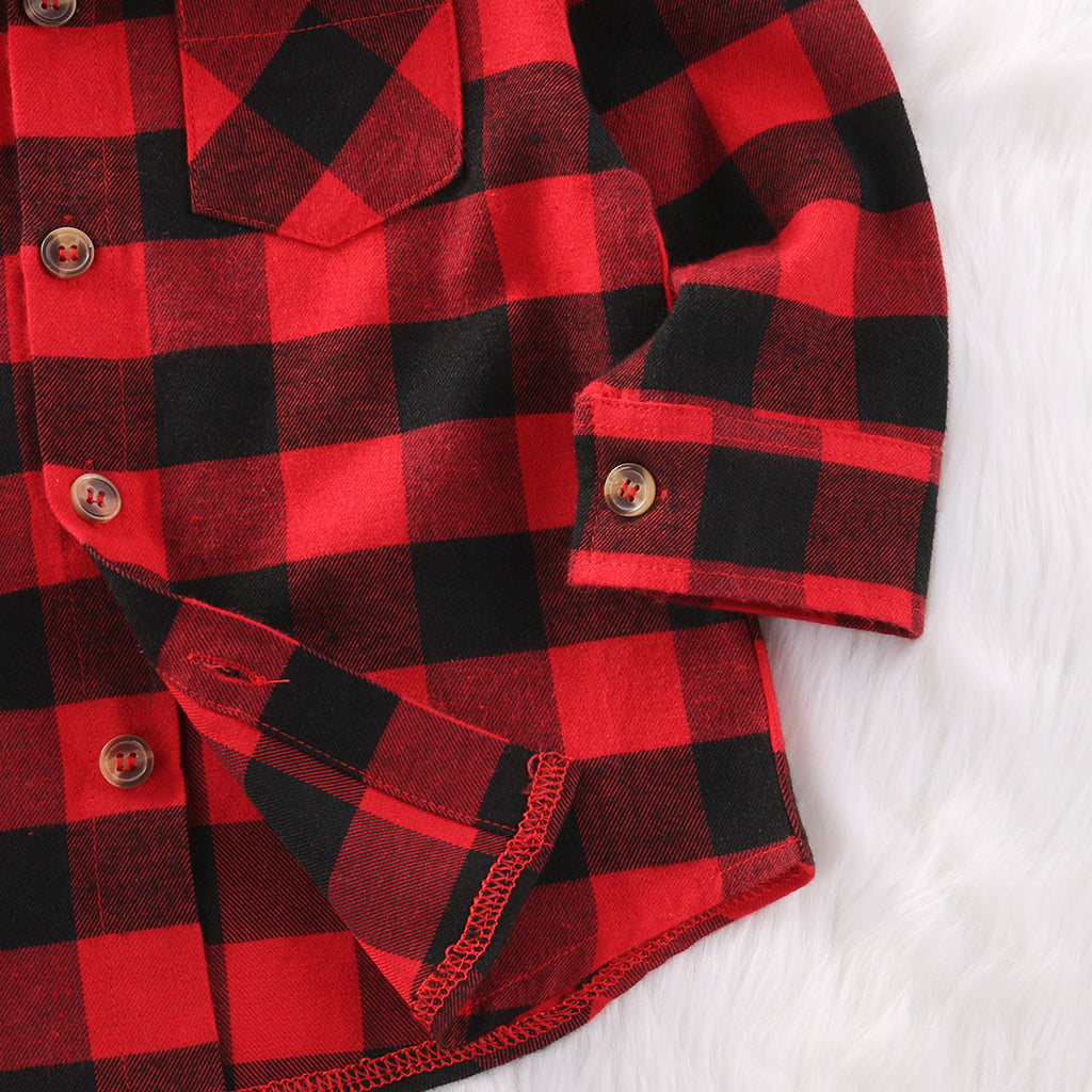 Boys Checked Shirt with Turn-down Collar and Long Sleeve Button Up for 1-6T - FOR MY LITTLE ANGELS