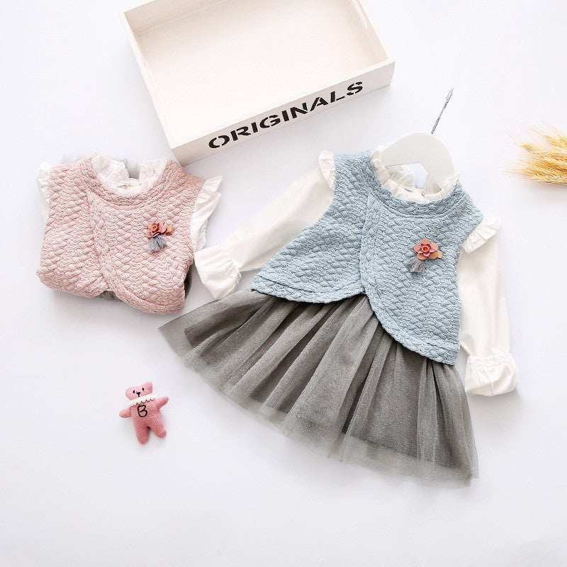 Korean Style Dress for Baby Girls with Knitted Vest and O-neck Shirt with Tulle Skirt (2pcs) for 1-3T - More Colors Available - FOR MY LITTLE ANGELS