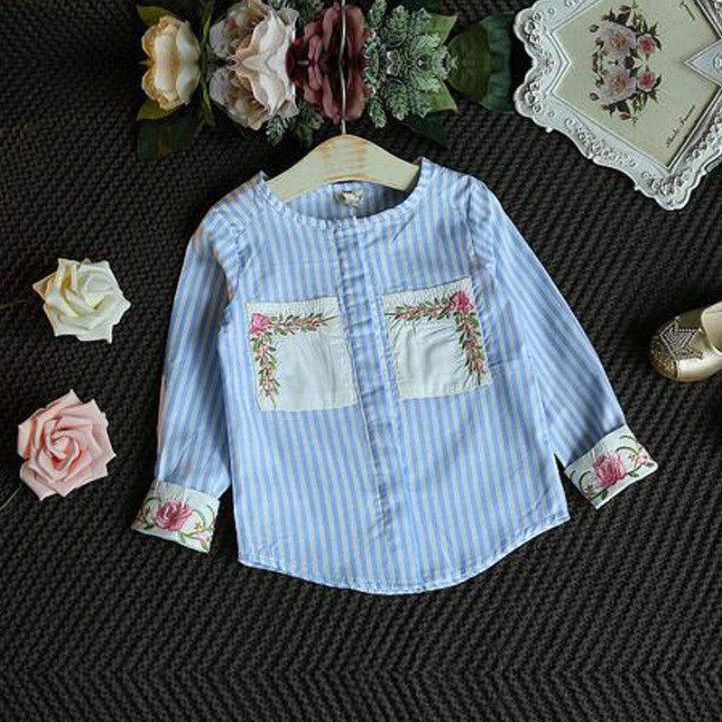Girls Floral Set with Stripe Embroided Flower Details Shirt and Denim Skirt (2pcs) for 3-7T - FOR MY LITTLE ANGELS