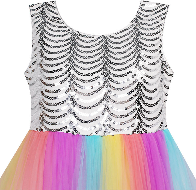 Sleeveless Sequin Dress with Colorful Mesh and Bow Tied Back for Girls 7-14T - FOR MY LITTLE ANGELS