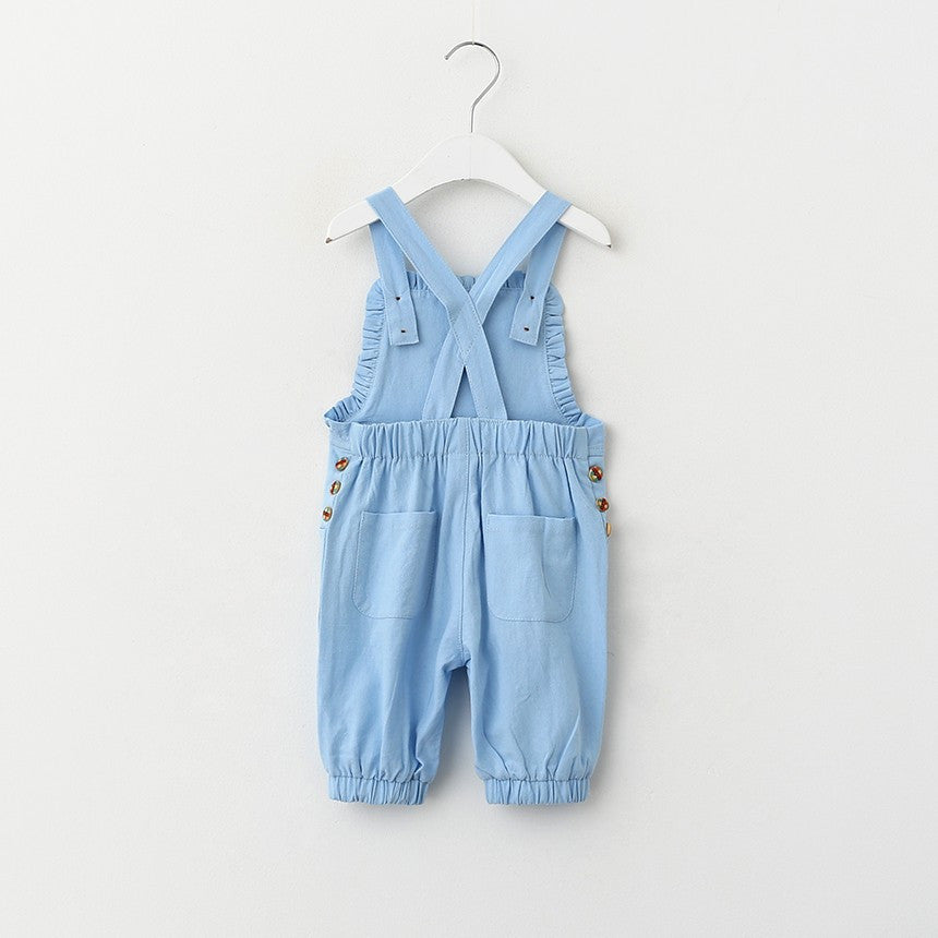Unisex Linen Overalls for Kids with Buttons 3-8T - More Colors Available - FOR MY LITTLE ANGELS