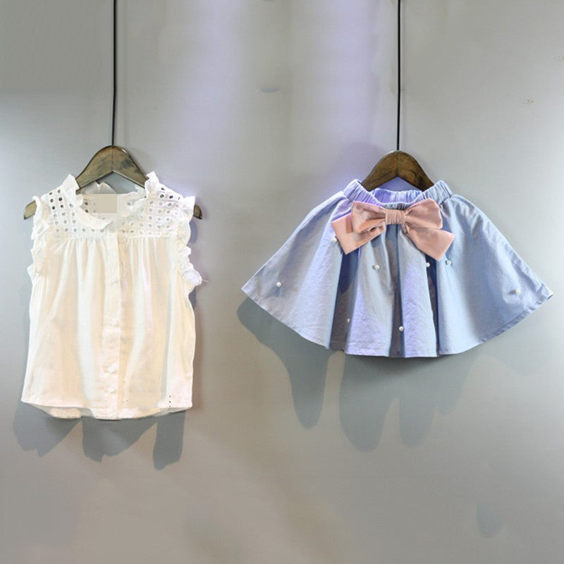Girls Clothing Sets with Sleeveless Lace Collar Shirt and Bow Pearl Skirt (2pcs) 2-6T - FOR MY LITTLE ANGELS
