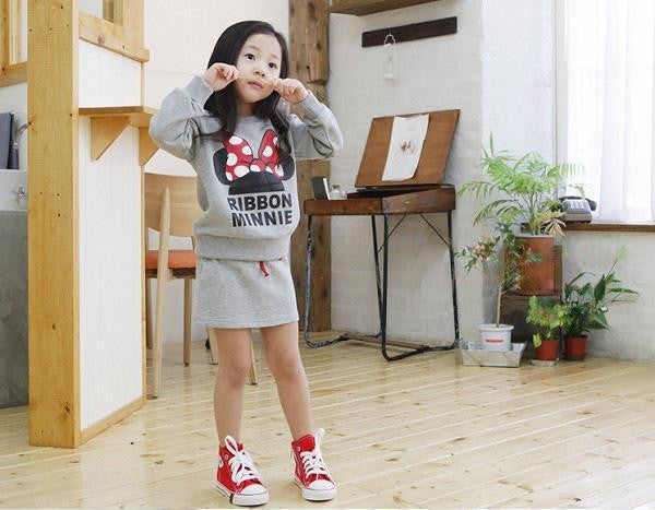 Spring/Summer Baby Girl Sporty Clothing Set with Mickey Mouse Printed Sweatshirt and Mini Skirt (2pcs) 3-7T - FOR MY LITTLE ANGELS