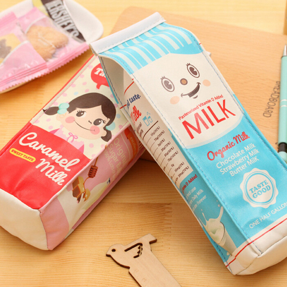 Milk Box Leather Pencil Case for School Supplies - FOR MY LITTLE ANGELS