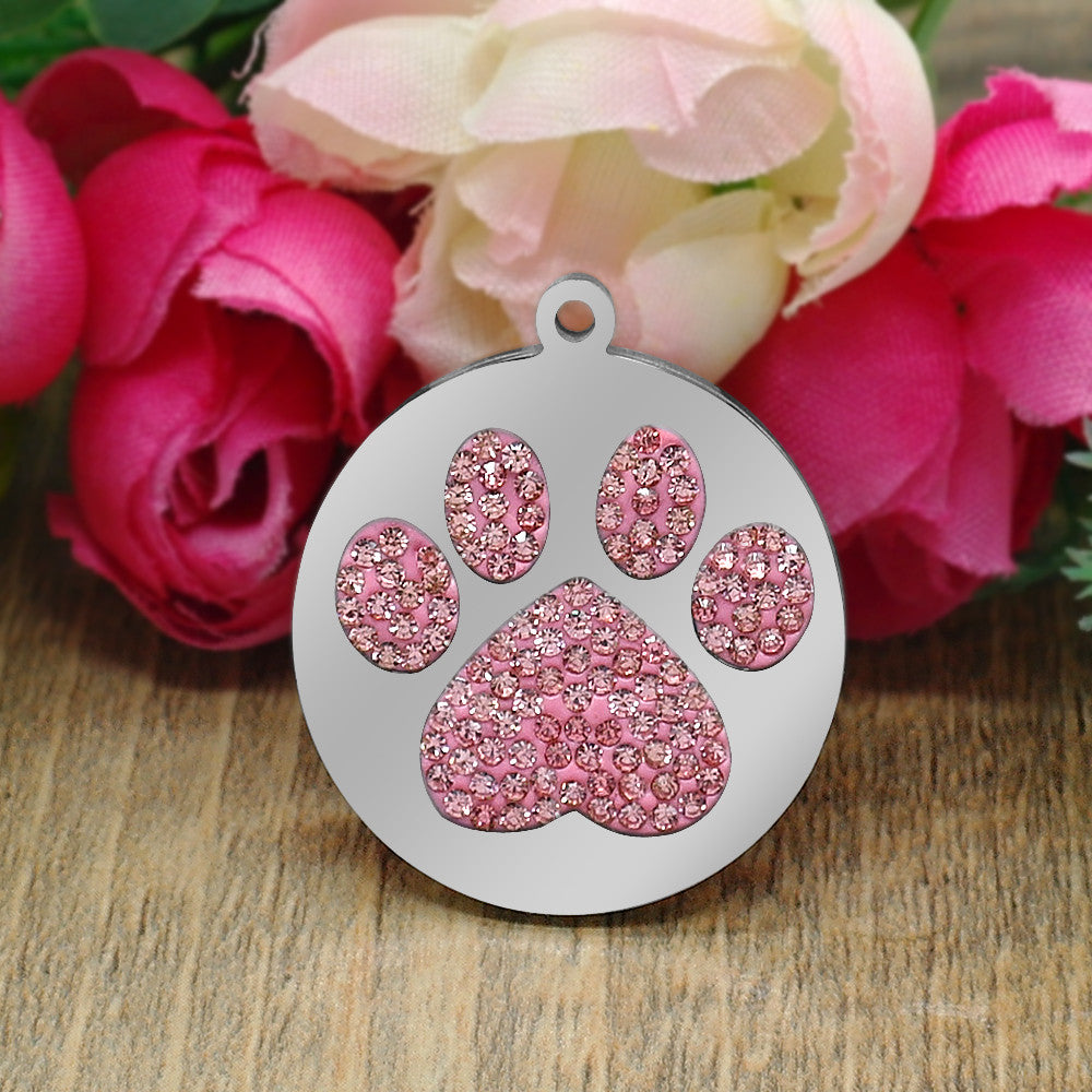 Rhinestone Paw Charm for Pets with Custom Personalize Engraved Name - FOR MY LITTLE ANGELS