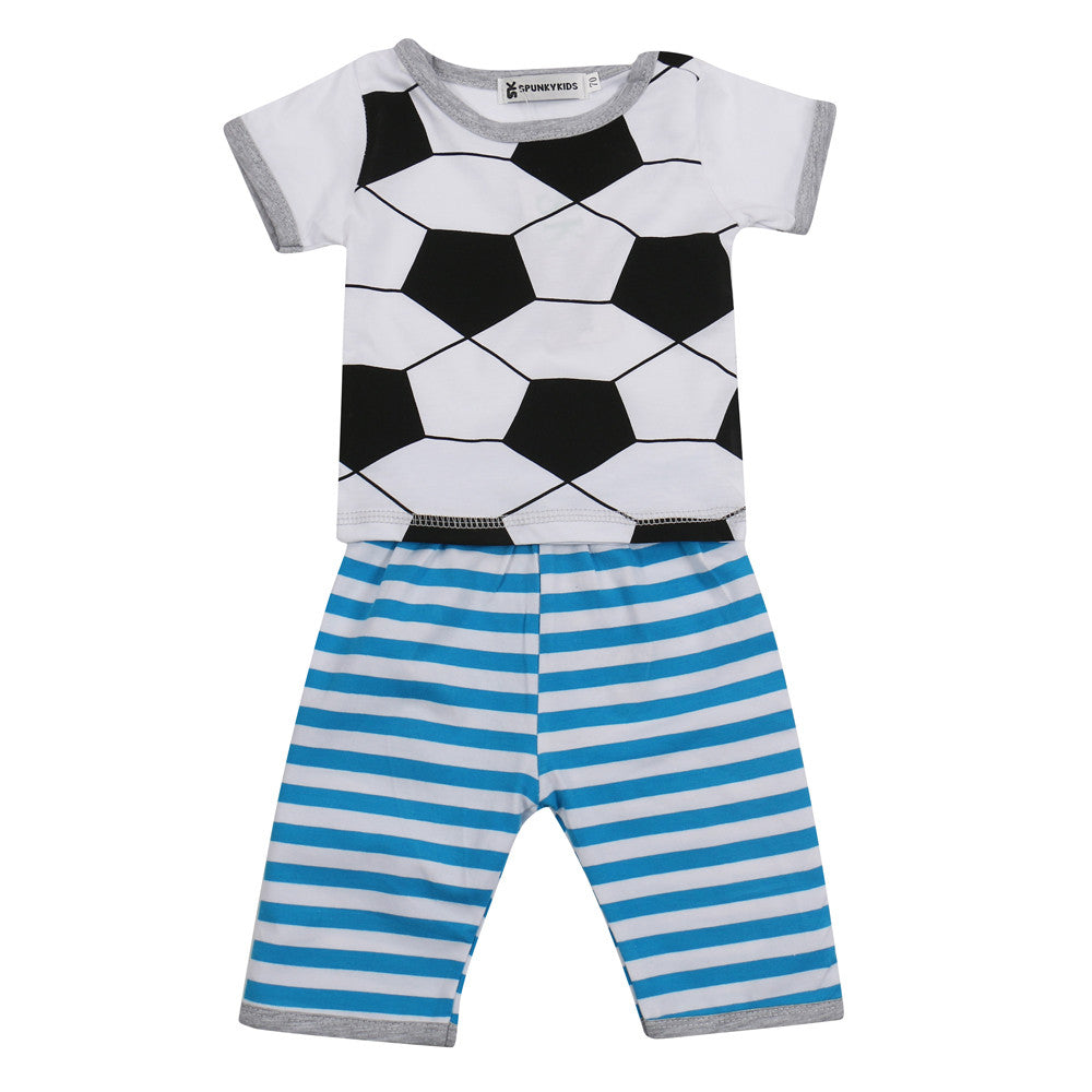 Spring/Summer Baby Boys Clothing Set with Soccer Ball Printed T Shirt and Stripe Shorts (2pcs) 0-24M - FOR MY LITTLE ANGELS
