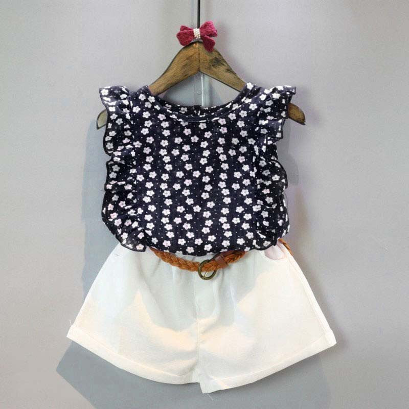 Spring/Summer Baby Girls Clothing Set with Sleeveless Floral Chiffon Shirt and White Shorts (2pcs) 3-7T - FOR MY LITTLE ANGELS