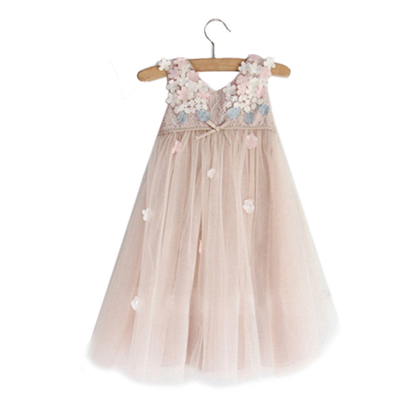 Sleeveless Tulle Girl Dress with Petal and Bow - 3-10T - FOR MY LITTLE ANGELS