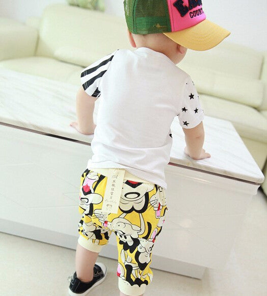 Spring/Summer Baby Boys Casual Clothing Set with Sleeveless Mickey Mouse Printed T Shirt and Pattern Shorts (2pcs) 1-4T - FOR MY LITTLE ANGELS