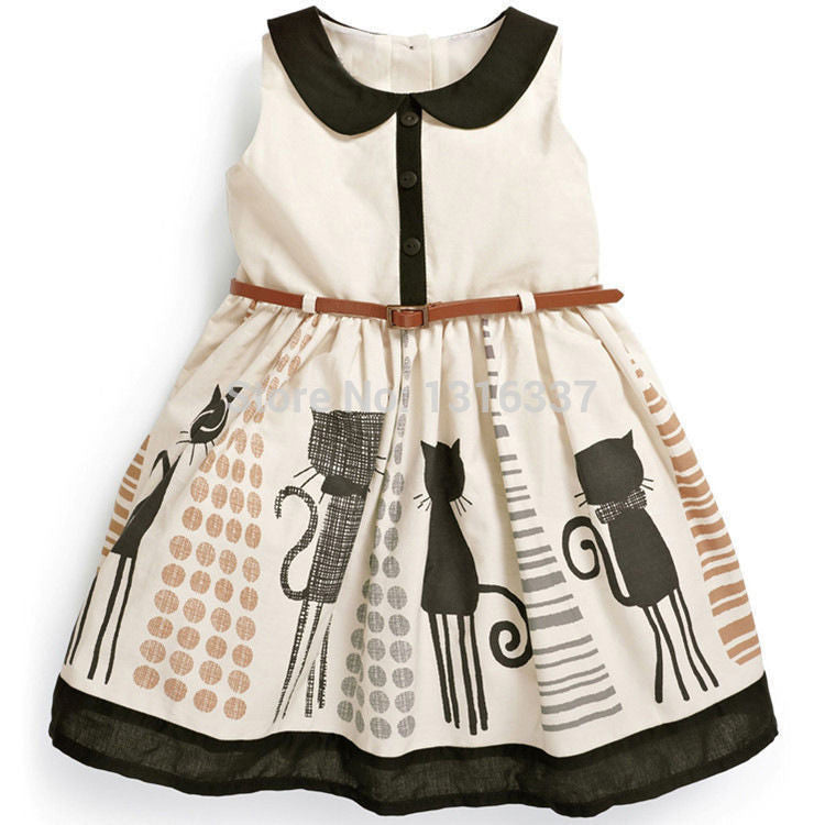 Spring/Summer Baby Girl Sleeveless Dress with Peter Pan Collar and Cat Print 2-6T - FOR MY LITTLE ANGELS