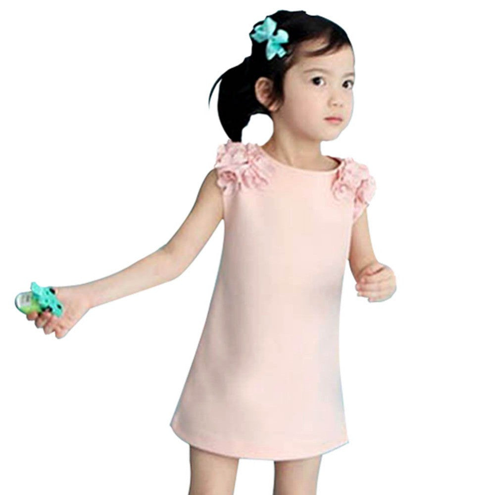 Spring/Summer Baby Girls Sleeveless Dress with Flowers Detail Shoulder 3-7T - FOR MY LITTLE ANGELS