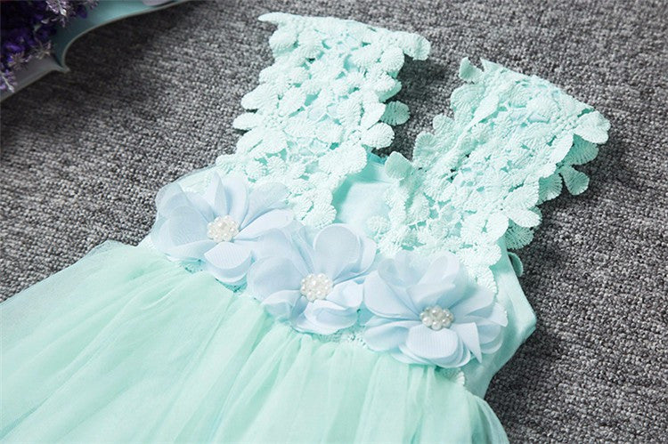 Spring/Summer Sleeveless Baby Girls Dress with Tulle Mini Ball Gown and Flower Lace Details 2-6T - FOR MY LITTLE ANGELS