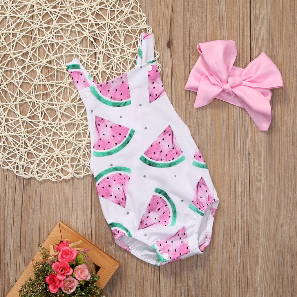 Spring/Summer Baby Girl Sleeveless Watermelon Print Romper with Pink Headband (2pcs) 4-24M - FOR MY LITTLE ANGELS