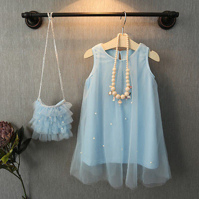 Spring/Summer Sleeveless Baby Girls Dress in Tutu Style with Pearls 2-6T - FOR MY LITTLE ANGELS